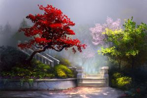 Enchanted Garden with Stairs by jjpeabody