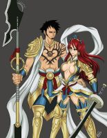 Commission Law n Erza in Armor by UltiMaL
