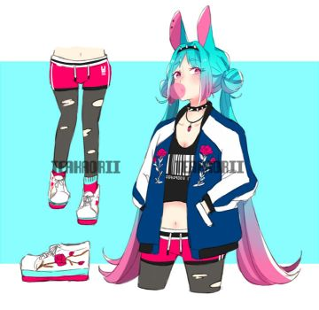[AUCTION: CLOSED] Neon Punk Bunny by teakaorii