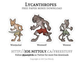 Free Lycanthropes Paper Minis by Pasiphilo