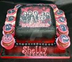 Black Veil Brides Cake and Cupcakes by cakesbylorna
