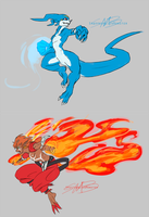 Flamon and Veemon by SpottedAlienMonster