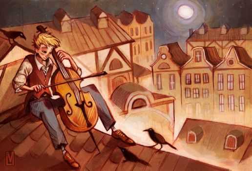 Night Cellist by AmandaMullins