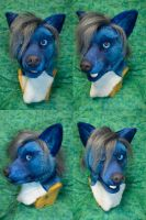 Blue Striped Dog Head by temperance