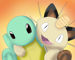 Squirtle and Meowth by DaEliminator