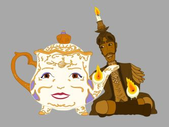 Mrs Potts and Lumiere by LisaGunnIllustration
