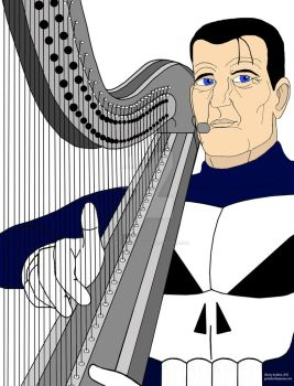 Steve Dillon's Punisher on the harp by OwossoHarpist