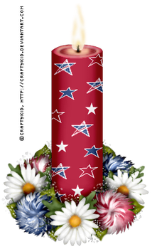 Red Stars Candle with flowers by Craftykid