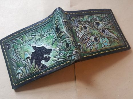Green crow skull wolf leather wallet by Bubblypies