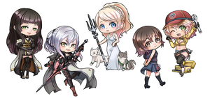 FFXV girls chibi by dinotje