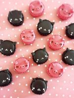 Mio Miao and Cosciotto Macarons Charms by LeChatNoirHandMade
