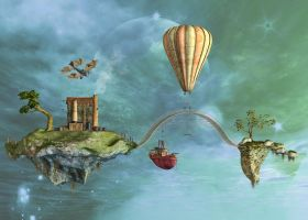 Steampunk Fantasy Land In The Sky by Roy3D