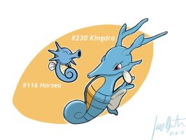 Horsea And Kingdra by LuisMGalindo