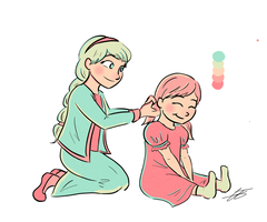 Little Elsa and Anna by xxiiCoko