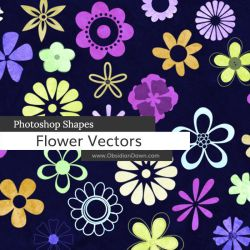 Flower Vectors Photoshop Custom Shapes by redheadstock