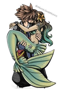 Sora and his Mermaid by MarieJaneWorks