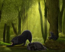 Black-Wolves-in the Woodlands by JaneEden