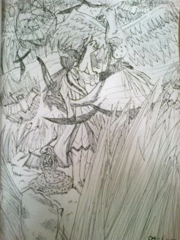My first fantasy drawing by Areia13