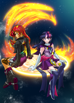 Fire and stars: sunset  / twilight by mauroz