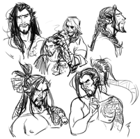 hanzo's overgrown hair by soularch