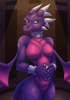 Cynder hands over stomach (clean) by SacrificAbominat