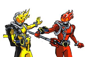 Kamen Rider Meteor Elec and Fire States by hugohugo