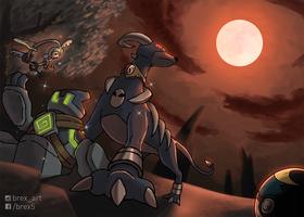 [Commission] Houndoom, Klefki and Golett
