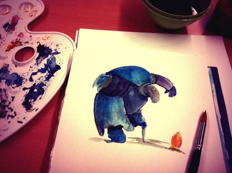 Water color painting: American Football robot by sodeikat