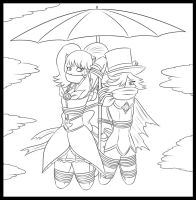 Cure Lunette and Medea Flying on an Umbrella by Humite-Ubie