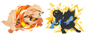 Arcanine and Luxray by Kiwibon