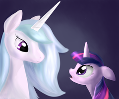 Twilight and Celestia by Sokolas