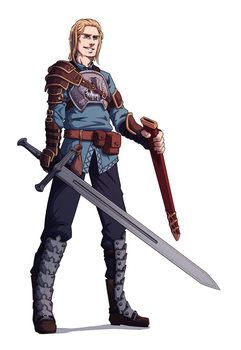 Commission: Half-Elf Swordsman by Furin94