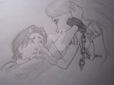 Flynn and Rapunzel sketch by Corazondeleon