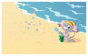 Mouse on the beach by jkBunny
