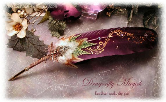 DRAGONFLY MAGICK Feather Pen by ChaeyAhne