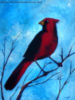 Cardinal in blue by lervold