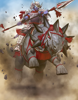 Samurai Cavalry of Reptier by Freezadon