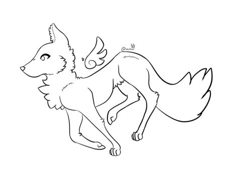 Winged Wolf Lineart  by xgalaxymeowx