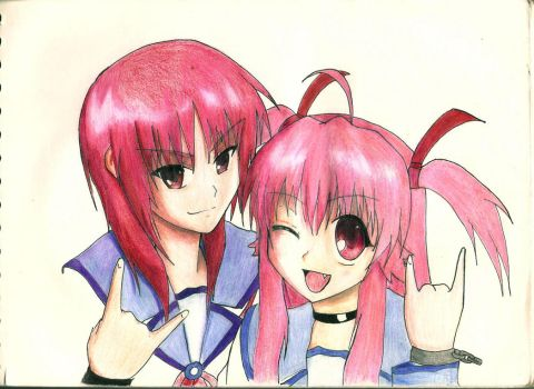 Sketchbook Yui and Iwasawa by abdre16