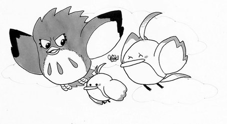 Inktober 2018 Day 6 - Coo, Pitch, and Hiiro by Chenanigans
