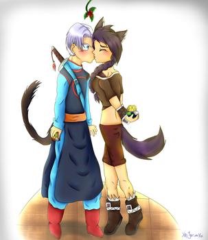 Trunks X Yakara .: mistletoe kiss :. by xX-Jarira-Xx