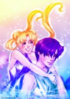 Usagi and Mamoru sketch by Miyako-tyan