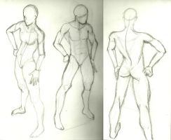 male figure practice sketches by Laesdaw