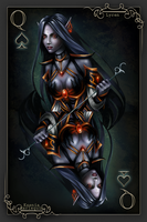 Playing card: Queen of Spades (Lyren) by KseniaHarlequin
