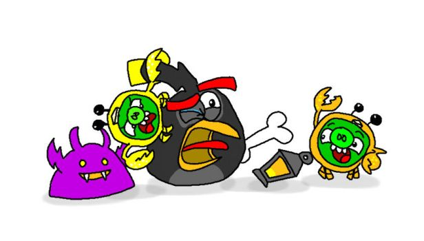 Bomb and the Crab Pigs (AB Fight!) by AngryBirdsStuff