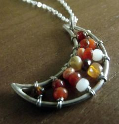Fire Opal Moon Necklace by MoonLitCreations
