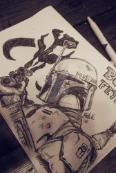 Boba Fett in pen by MattyH85