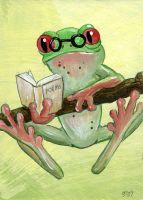 Studious Frog ATC by spiraln