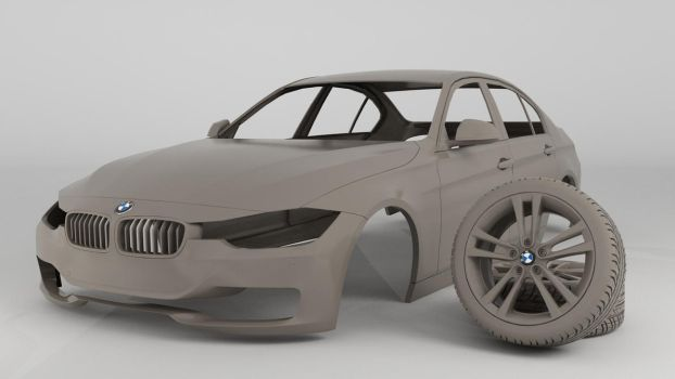 BMW 335i Clay Render by 3Dstate