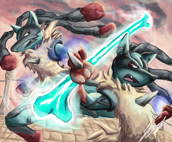 Mega Lucario Battle (Redraw) by Geomerisc